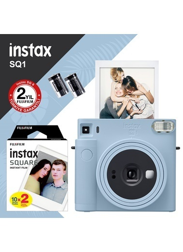 Fujifilm Instax SQ1 Buz Mavi Fotoğraf Makinesi ve 20li Kare Film Mavi